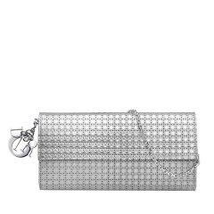 【满8000返2000】【包邮包税】DIOR/迪奥  经典款Lady Dior女士迷你藤格纹图案小牛皮银色装饰钱包 (2色可选)图片