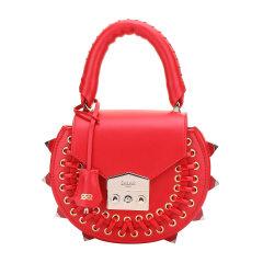 SALAR/SALAR女士铆钉纯色绑带牛皮手提包单肩包斜挎包小圆包女包SR18MIPG红色图片
