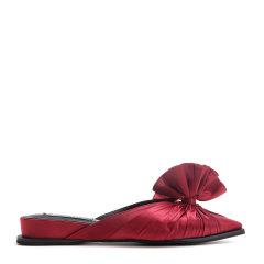 【17春夏】BENATIVE/本那 百褶结真丝绒尖头低跟裙装穆勒鞋 女士凉拖 BN01711847图片