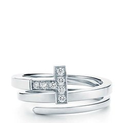 Tiffany & Co./蒂芙尼 T 系列方形18K金镶钻缠绕式戒指图片
