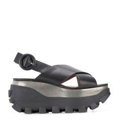 MARNI/玛尼 18年秋冬 露趾 中跟凉鞋 厚底 圆扣 黑色 女士 ZPMS001907#LV589#00N99图片