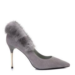 BENATIVE/本那毛绒装饰 尖头浅口高跟鞋 舒适套脚细跟单鞋BN01735151 灰色 35图片