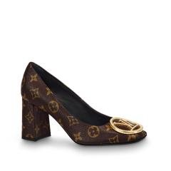 【包邮包税】Louis Vuitton/路易威登  19春夏女士新款老花金扣7.5CM粗跟高跟鞋 1A4EML图片