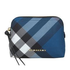 BURBERRY/博柏利  女士尼龙拉链开合蓝色格子手拿包 4039527图片