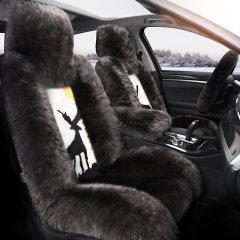 pinganzhe 新款全包冬季澳洲羊毛坐垫毛绒汽车垫皮毛一体长毛汽车座垫 送羊毛方向盘套 一路平安款图片