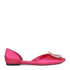 【指定款满减】Roger Vivier/罗杰·维维亚女士蓝色低/中跟鞋Chips水钻丝缎芭蕾舞鞋图片
