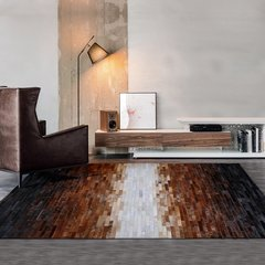 DOWNESSA初秋的下午茶 设计师原创毛皮拼接地毯图片