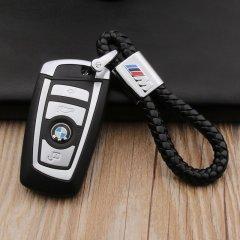 pinganzhe 宝马M标 专用汽车新款带车标钥匙扣 手编织真牛皮钥匙链 钥匙圈锁匙环 男士女士 创意 汽车用品图片