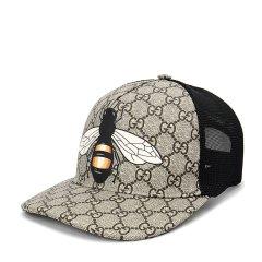 GUCCI/古驰蜂蜜图案人造帆布男士棒球帽图片