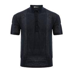 ANDREW MACKENZIE/安德鲁·麦肯锡 AMK 男士翻领套头针织短T/藏青色/常规版/丝棉混纺-男士短袖T恤图片