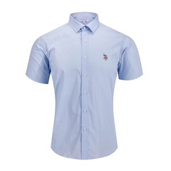U.S.POLO.ASSN/U.S.POLO.ASSN男式单色白领打底上衣商务男士短袖衬衫图片