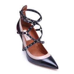 Valentino/华伦天奴系列黑色羊皮材质拼色尖头设计女士低/中跟鞋,JW2S0944 N91 WOMEN SHOES 37/图片