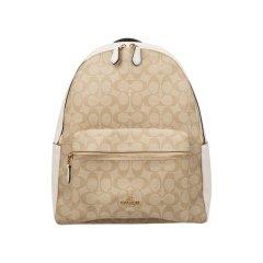 【包税】COACH/蔻驰 CHARLIEBACKPACKLogo款拼接女包双肩包卡其棕色 均码图片