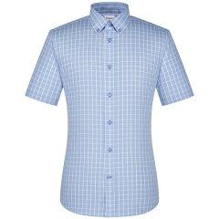 CAMICISSIMA/恺米切19年夏款免烫男士短袖衬衫 纯棉蓝色商务修身时尚格子衬衣图片