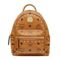 MCM 女士棕色铆钉经典LOGO印花超迷你双肩包背包旅行包 MMK8AVE04CO图片