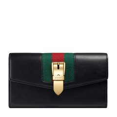 GUCCI/古驰 20春夏  Sylvie系列女士红色牛皮金属带扣织带条纹长款钱夹钱包图片
