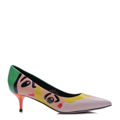 BENATIVE/本那 艺术印花系列 印花牛皮低/中跟鞋图片