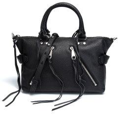 Rebecca Minkoff/瑞贝卡·明可弗 女士黑色牛皮荔枝纹手提包单肩包图片