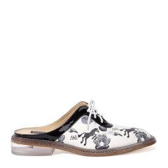 BENATIVE/本那 印花系列 皮质拼接系带拖鞋 BN01612551图片