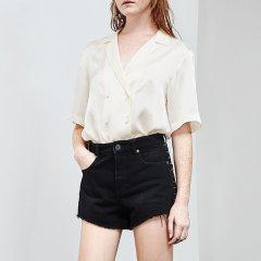 MO&Co./摩安珂女士短袖衬衫2018夏季新品睡衣式V领纯色真丝短袖衬衫MA182SHT119图片