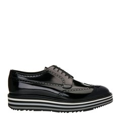 【极速发货】 18年春夏 PRADA 小牛皮男士商务鞋 GS-15464 黑/灰 英码5 黑/灰 英码5图片
