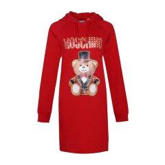 Moschino 莫斯奇诺 19春夏 女士纯棉泰迪熊印花字母LOGO长袖连帽卫衣式连衣裙图片