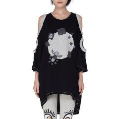 LOVEIS 春季新品 中袖 圆领 露肩 前后不规则下摆 潮流设计 女士短袖T恤 51S KT002图片