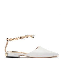 BENATIVE/本那时尚低跟女士单鞋 18春夏新品尖头链条搭扣凉鞋图片