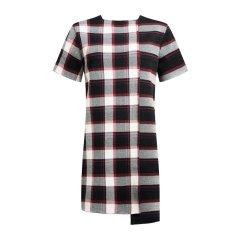 PORTSPURE/PORTSPURE2018秋季新款英伦风格纹不规则卷边不对称设计款中长女士连衣裙RA9K052CKE002图片