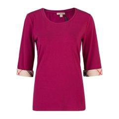 【包税】Burberry 博柏利 女士格纹袖口五分袖T恤图片