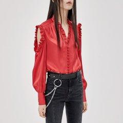 MO&Co./摩安珂女士长袖衬衫MOCO2018秋季新品个性露肩木耳边V领衬衫图片