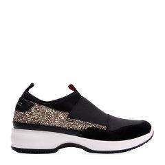 COZY STEPS/COZY STEPS 牛皮+格利特+松紧带亮片厚底女士休闲鞋 黑色+浅金色 39图片