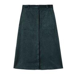 YAWANG CHEN/YAWANG CHEN  日本进口醋酸面料 女士半身裙绑带设计通勤 粉色 墨绿图片