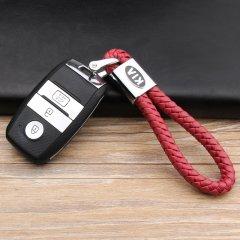 pinganzhe 起亚专用汽车新款带车标钥匙扣 手编织真牛皮钥匙链 钥匙圈锁匙环 男士女士 创意 汽车用品图片