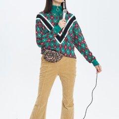 【DesignerWomenswear】UOOYAA/乌丫18秋冬新款专柜正品复古经典菱形格纹休闲百搭长袖女士针织衫/毛衣图片