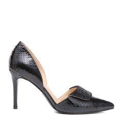 BENATIVE/本那2018春夏新品女士高跟鞋 性感时尚蛇皮镶钻尖头细高跟中空凉鞋图片