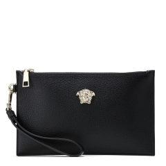VERSACE/范思哲女士黑色牛皮银色美杜莎LOGO 手包 手拿包 钱包 女士包袋 官方授权图片