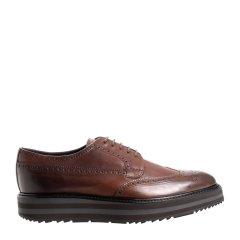 PRADA/普拉达 牛皮 德比款 系带 棕色做旧设计男士商务休闲鞋图片