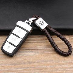 pinganzhe 大众 专用汽车新款带车标钥匙扣 手编织真牛皮钥匙链 钥匙圈锁匙环 男士女士 创意 汽车用品图片