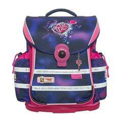 McNeill/McNeill德国进口儿童小学生书包减负护脊轻便双肩背包四件套4-6年级紫红色爱心锁图片