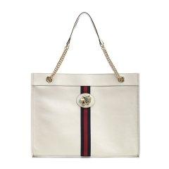 GUCCI/古驰 20年春夏 Rajah系列大号购物袋 女性 gucci  经典红绿条纹 托特包 黑色 手提包 537219/0OLHX 8389图片