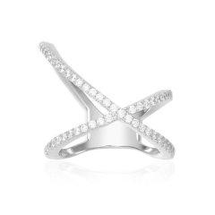 APM Monaco/APM Monaco银色 玫瑰金色不对称X形交叉戒指 时尚个性指环女 A17031OX R17031OR图片