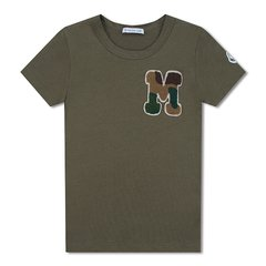 Moncler/蒙克莱 男童军绿色胸口M字母装饰T恤 8014005 83907 817 8A图片