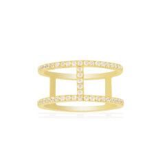 APM Monaco/APM Monaco 林志玲同款 金黄色 银色 粉金色 925纯银镶晶钻工字戒指/指环/首饰 时尚个性银饰品  A16876OXY A16876OX R16876OX图片