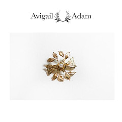Avigail Adam美国纽约手工制造艺术风格首饰品牌女式小叶环形弹簧夹Small Leaf Circle Barette图片