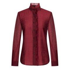 CREMIEUX/柯兰美 春季韩版纹衬衫中长款宽松纯色休闲女士长袖衬衫HCSC31001CL图片