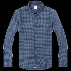 CAMICISSIMA/恺米切18秋冬法兰绒男士长袖衬衫 休闲全棉磨毛蓝色方格子保暖衬衣图片