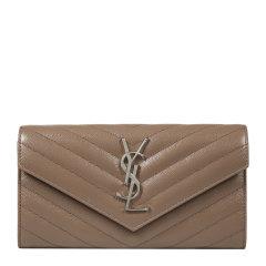 Yves saint Laurent/圣罗兰 经典YSL金属logo线粒纹牛皮暗扣翻盖女士钱包 372264BOW02图片