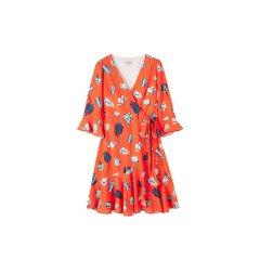 bebe/bebe【Designer Womenwear】2019春夏季新品女士连衣裙V领系带连衣裙郁金香印花短裙 250029图片
