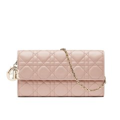 DIOR/迪奥 经典款女士 Lady Dior藤格纹小羊皮Croisière链条钱包(5色可选)图片